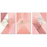 Kit Placas Quadros Decorativos 3 Peças 20x30 Mdf Formas Rosa
