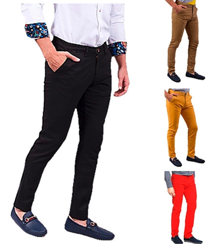 Pantalones Caballeros Strech  Slim Fit  By Plutonio