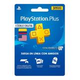 Playstation Plus 3 Meses Para Región Usa Y Colombia Ps4