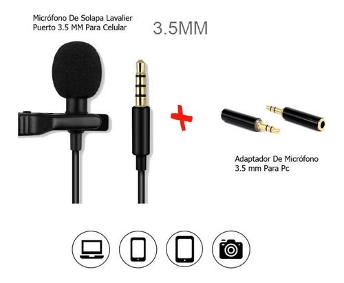Micrófono De Solapa Para Celular + Adaptador Para Pc 3.5 Mm.