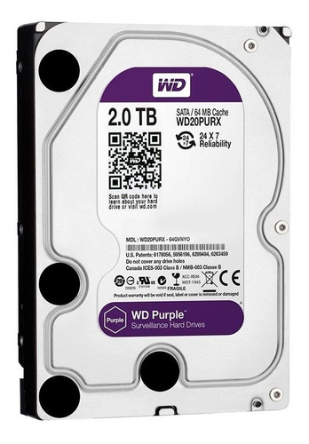 Disco Rígido Hd 2tb W.digital Purple Sata3 64mb 3.5 Pc