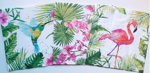 Servilletas Decoupage Tropical Flamenco Colibri Laura Craft