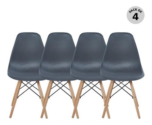 Set De 4 Sillas Modernas Eames Varios Colores Begônia
