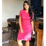 Vestido Tubinho De Renda Com Elastano Rosa Pink Original