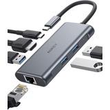 Adaptador Usb-c - 2 Port Usb 3.0 + Hdmi + Red + Pd - Pc/mac