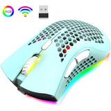Mouse Inalámbrico Gamer Honeycomb Rgb Backlit Usb Verde