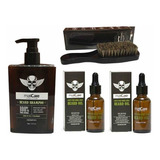 Shampoo De Barba + 2 Aceites 30ml Maxcare + Cepillo Barberia