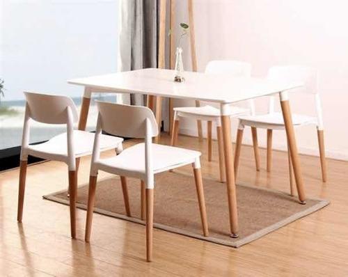 Juego De Comedor Eames 1.20 Y 4 Sillas Milan/nordico Moderno