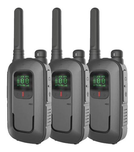 Kit X 3 Handy Baofeng Radio Walkie Talkie Bft12 16ch Uhf Lcd