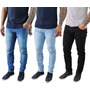 Kit 3 Calça Jeans Sarja Masculina Skinny Slim Lycra Colorida Original