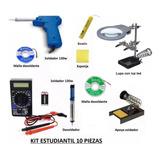 Kit 10 Piezas Apoya Soldador 130w Lupa Estaño Tester Desoldador