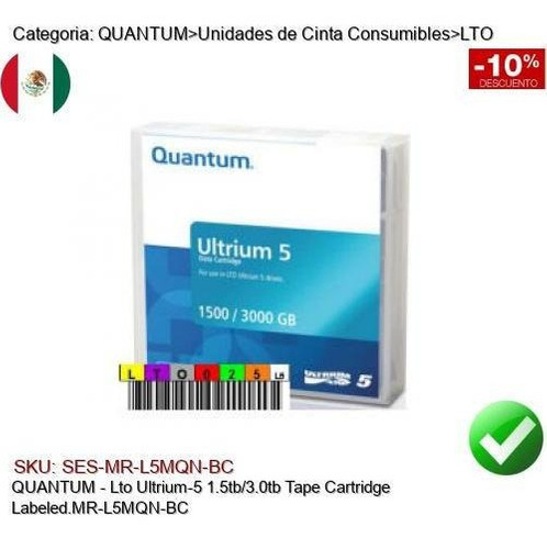 Quantum Lto Ultrium5 1.5/3tb Cinta Respaldo Mr-l5mqn-bc