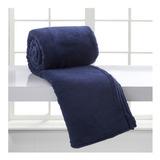 Cobertor Corttex Home Design Microfibra Casal Azul-marinho Liso