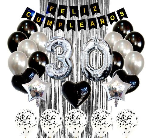 Combo Globos Kit Deco Fiesta Feliz Cumple Negro Y Plateado