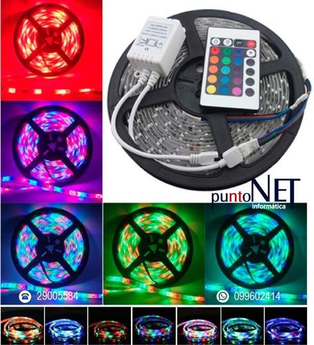 Tira Luces Led Color Rgb 3528 Fria 5 Mts + Control + Fuente