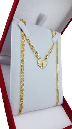 Collar Y Media Medalla Corazon Enamorados Ench Oro No Full