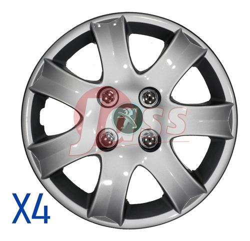 4 Tazas Peugeot 206 207 208 Partner Rodado 14 Pulgadas Envio