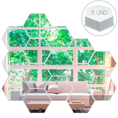 Vinilo Decorativo Espejo Pared Adhesivo Hexagonal Hexágono