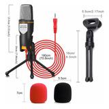 Micrófono Condensador Con Divisor De Audio Y Tripie Antislip