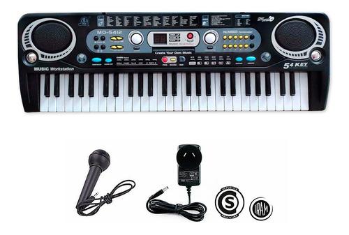Organo Teclado Musical 54 Teclas Electrico Lcd Microfono Col