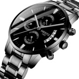 Reloj De Hombre Nibosi Negro Impermeable Con Cronógrafo