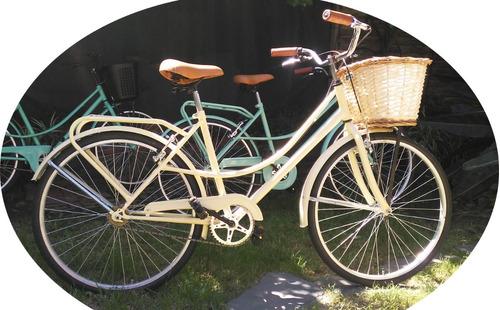 Bicicleta Vintage Beige Rod. 26 Canasto Mimbre Portaequipaje