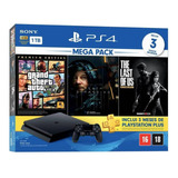 Sony Playstation 4 Slim 1tb Mega Pack: Grand Theft Auto V Premium Edition/death Stranding/the Last Of Us Remastered Cor  Jet Black