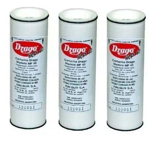 3 X Cartuchos Repuesto Filtro Purificador Agua Drago + Envio