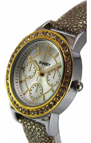 Reloj Sweet 7249 Cristales Swarovski Dorado Mujer Garantía
