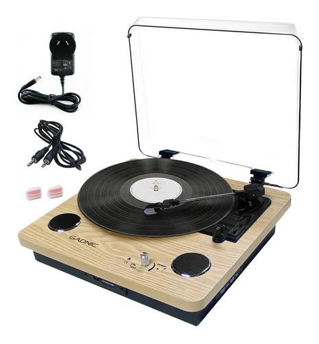 Tocadisco Madera Simil Vinilo Vintage Disco Bluetoot Sd Usb