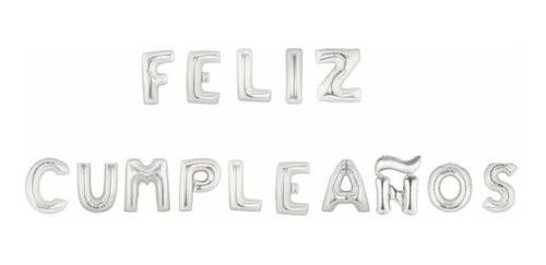 Globos Inflables Aire Helio Cumpleaños Letras Plateadas