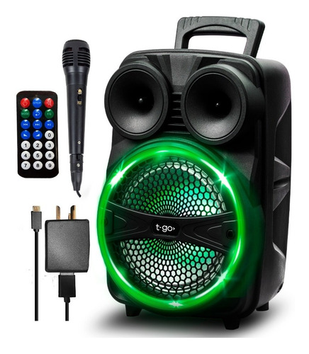 Parlante Portatil Bluetooth Potente Microfono Luces Radio