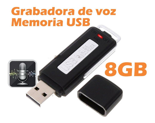 Memoria Usb 2 En 1 Espía, Grabadora De Voz Audio 8 Gb Sonido