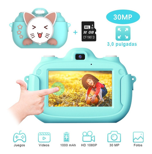 Cámara Digital Video Niño Niña 32gb Lente 1080p