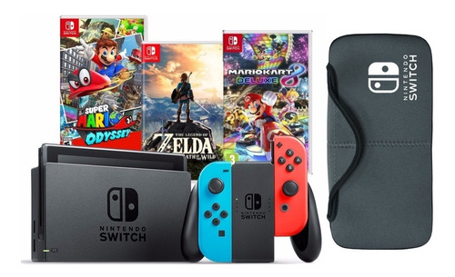 Nintendo Switch + Zelda + M Kart 8 + Mario Odyssey + Estuche