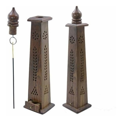 Porta Sahumerios Torre Madera India Varios - Arcana Caeli
