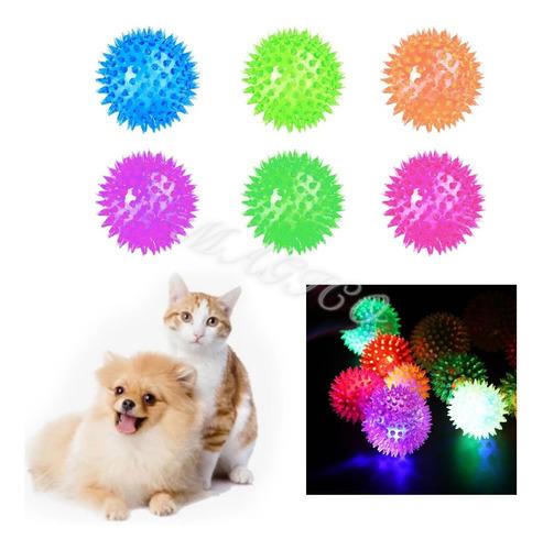 Pelotita Juguete Erizo Luces Destellos Perro Gato Mascota