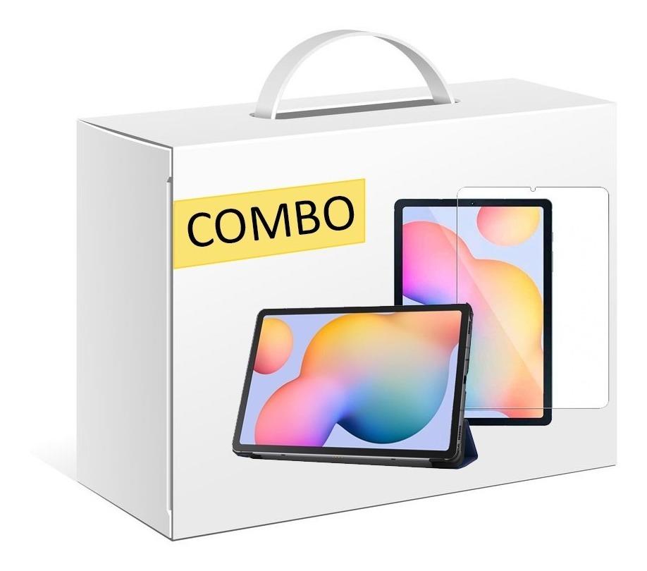 COMBO FUNDA SMART TAB S6 LITE COLOR AZUL + VIDRIO