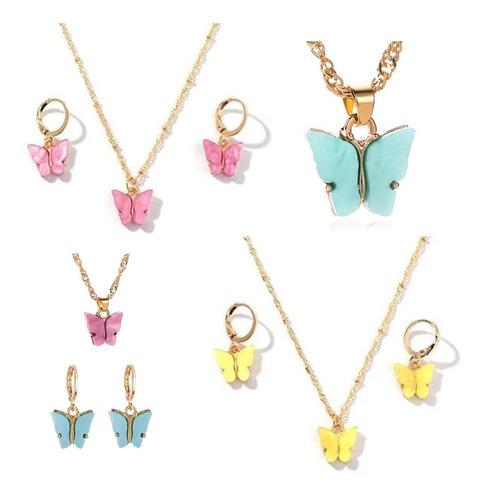 Aros Arito Argolla Color Oro Con Dije Mariposa Colores Set