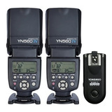 Kit 2 Flash Yongnuo 560 Iv Y Disparador Rf603 Canon