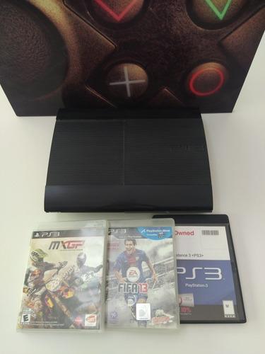 Playstation 3 Ultra Slim 250gb + 3 Juegos, Sin Joystick.