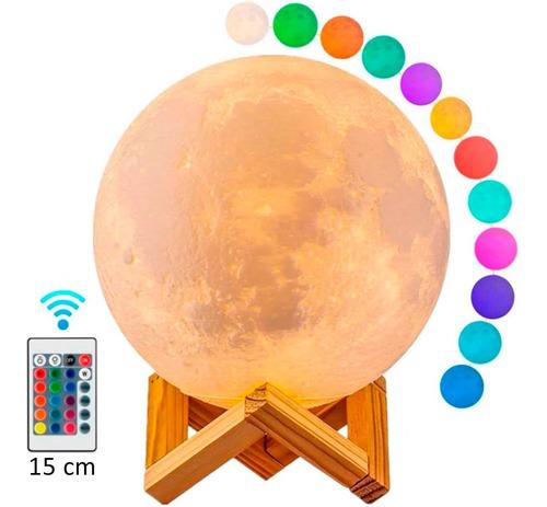 Lámpara Luna Con Control Luz Led Colores Recargable Con Base