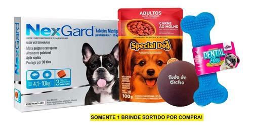 Antipulgas E Carrapatos Nexgard Cães 4 A 10kg Com 3 + Brinde