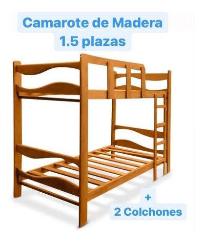 Camarote De Madera + 2 Colchones De Regalo | 1.5 Plazas