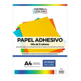 Papel Adhesivo Mix 5 Colores A4 - 80grs - 50 Hojas