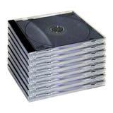 Caja Acrilica Transparente Cd Base Negra X 100 Unidades