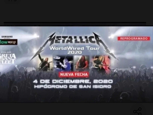 Entrada Mettalica Campo Vip 4/12/20 Show Reprogramado 2021