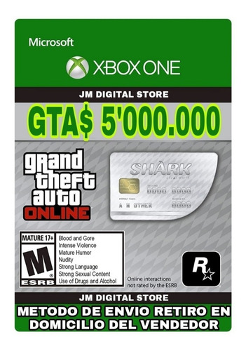 Gta V Online Dinero 5.000.000 Xbox One + 15.000 De Rp