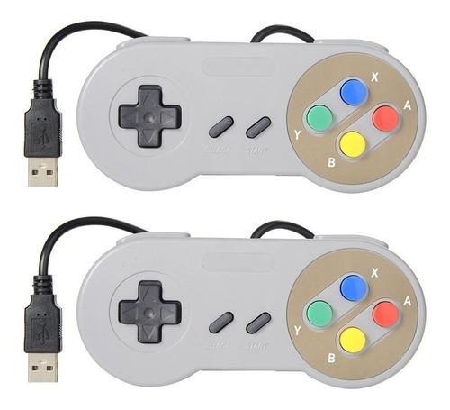 Joystick Gamepad Nintendo Snes Usb X 2 Unidades Color-  Pc