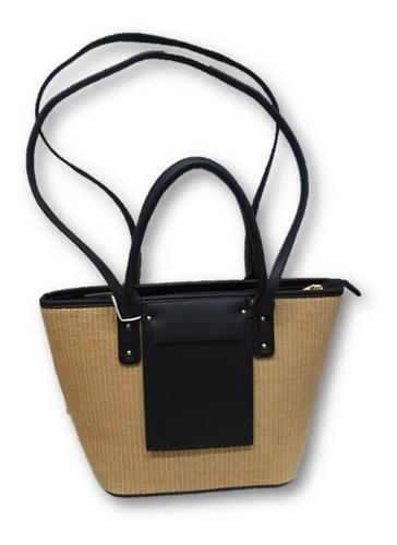 Bolsa De Dama Tipo Textil Con Negro Vel4gt80